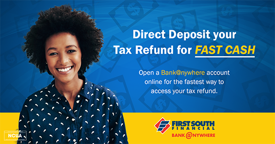 use bank@nywhere to deposit your tax refund for faster cash